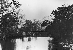 Capalaba, Queensland - An early bridge across the Tingalpa Creek, connecting the City of Brisbane and Shire of Redland, circa 1936.