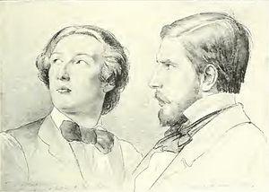 Enrico Gamba - Frederic Leighton and Enrico Gamba; portrait by Eduard von Steinle (1852)