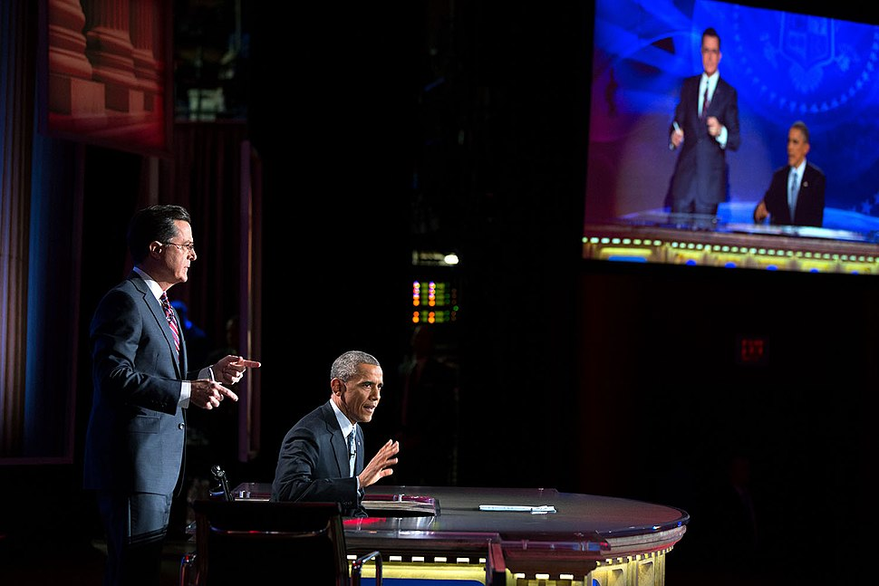 Stephen Colbert and Barack Obama, 2014