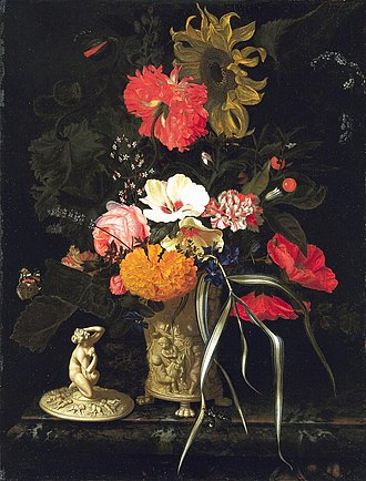 Maria van Oosterwijck - Still Life with Flowers in a Decorative Vase, c. 1670–1675, Mauritshuis