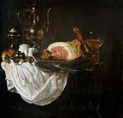 Still Life with a Ham, Silver Decanter and a Roemer