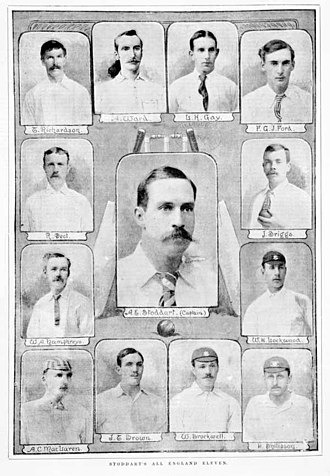 Bobby Peel - Andrew Stoddart's team which toured Australia in 1894–95: Peel is second from the top in the left hand column.