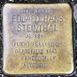 Photo of Eduard Hans Steinthal brass plaque