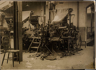 Irish Examiner - Cork Examiner presses smashed by Republican forces before the Free State army could arrive in Cork, 9–10 August 1922