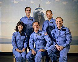 v.l.n.r. Sally Ride, John Fabian, Robert Crippen, Norman Thagard, Frederick Hauck