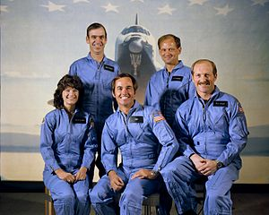 English: Astronauts of the STS-7/Challenger mi...
