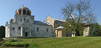 Studenica Monastery - Panorama picture of the Studenica (Church of the Virgin in the foreground)