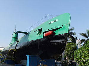 Whiskey-class submarine - Indonesian Navy Whiskey-class submarine KRI Pasopati mounted on pedestal in Surabaya riverside