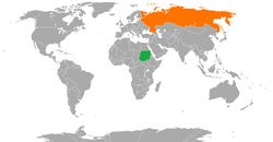 Map indicating locations of Sudan and Russia