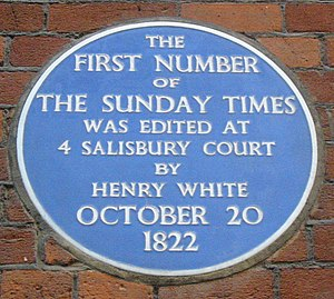 The Sunday Times - Plaque to the first edition of The Sunday Times at No. 4 Salisbury Court, London