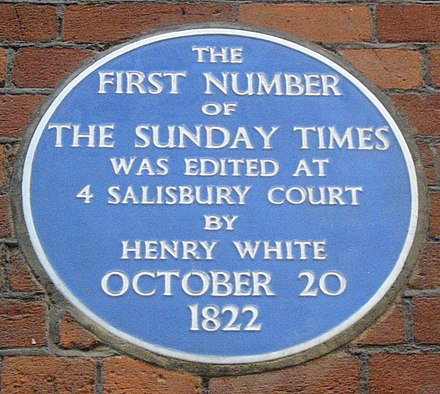 Plaque to the first edition of The Sunday Times at No. 4 Salisbury Court, London Sunday Times plaque London 1822.jpg