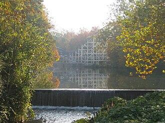Hersheypark - Spring Creek near the Comet (former location of the Sunken Gardens) before construction of Skyrush began.