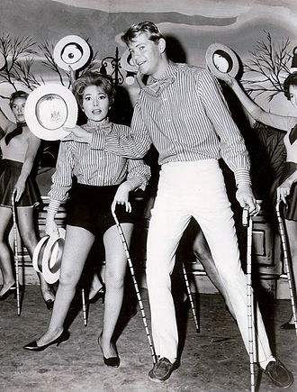 Surfside 6 - Cha Cha (Margarita Sierra) and Sandy (Troy Donahue) work on a dance routine.