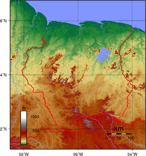 Geography of Suriname - Topographic map of Suriname