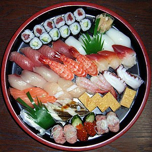Typical home delivery Sushi platter.