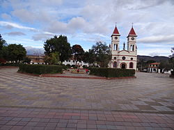 Central square and church of Sutamarchán