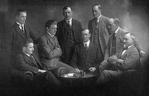 Left Party (Sweden) - First Communist Party group in the Second Chamber of the Swedish parliament in 1922. Standing from left: Viktor Herou, Verner Karlsson, J. P. Dahlén. Sitting from left: Karl Kilbom, August Spångberg, Helmer Molander, Carl Winberg.