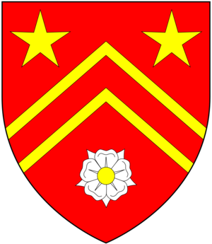 John Swete - Arms of Swete: Gules, two chevronels between in chief as many mullets or and in base a rose argent seeded of the second