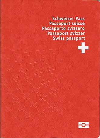 Swiss passport - The front cover of a contemporary Swiss biometric passport