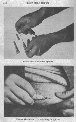 Syrette - Instructions for using the Syrette from the FM-21-11 Basic Field Manual –First Aid for Soldiers, April 7th 1943