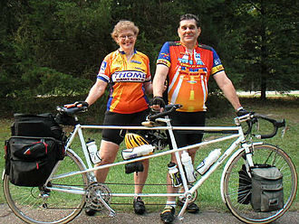 Tandem bicycle - A tandem loaded for bicycle touring with front and rear racks and panniers