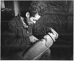 Patrociño Barela - Barela at work in his studio, 1941