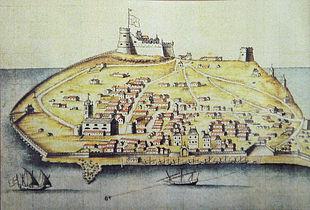 L'isola di Tabarca nel Seicento, quand'era popolata da Liguri. Si noti la bandiera della Repubblica di Genova, sventolando sul castello.