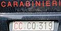 Targa automobilistica Italia 1985 CC*CQ•319 Carabinieri anteriore.jpg