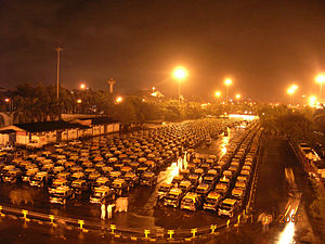 Taxicab stand - Taxi stand outside Chhatrapati Shivaji International Airport, in Mumbai, India