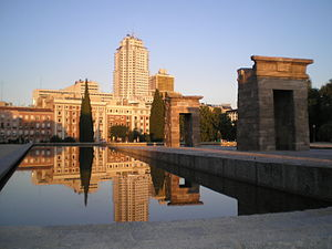 Temple of Debod with Madrid Tower in the backg...