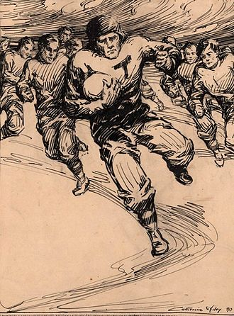 History of Tennessee Volunteers football - Mid-1890s yearbook sketch of a UT football player by artist Catherine Wiley