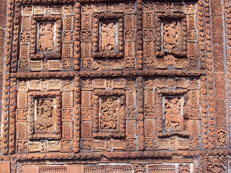 File:Terracotta work on Shyamrai Temple Bishnupur.JPG