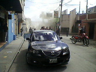 2012 Guatemala earthquake - Damaged buildings in the city of San Marcos, a few seconds after the earthquake