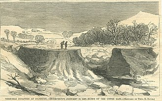 Danbury, Connecticut - Kohanza Reservoir disaster, January 31, 1869; the dam was breached, releasing a flood on the town.
