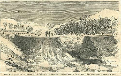 Kohanza Reservoir disaster, January 31, 1869; the dam was breached, releasing a flood on the town. TerribleDisasterAtDanburyHarpers1869.jpg