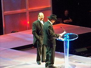 Terry Funk - Terry Funk (right) and Dory being inducted into the WWE Hall of Fame in 2008.