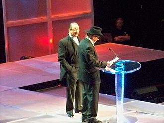 Terry Funk - Terry Funk (right) and Dory being inducted into the WWE Hall of Fame in 2009.