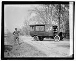 Tests of the new Armoured trucks of the Post Office Department at Fort Meyer today. The windows and wind shields are of bullet proof glass. This photo snaped (sic) at the moment of impact, LOC npcc.05468.jpg