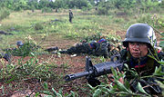 Royal Thai army soldier with an M16A2 rifle during maneuvers in 2000