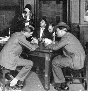 The Front Page - Reporters play cards in the press room of the Criminal Courts Building in Act I of The Front Page (1928)