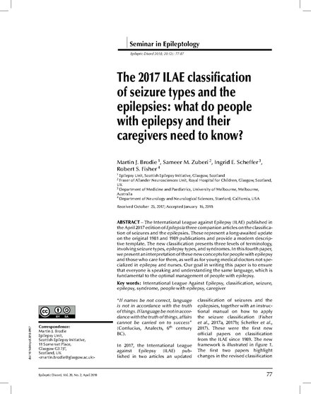 The 2017 ILAE classification of seizure types and the epilepsies (click to read full text) The 2017 ILAE classification of seizure types and the epilepsies what do people with epilepsy and their caregivers need to know%3F.pdf