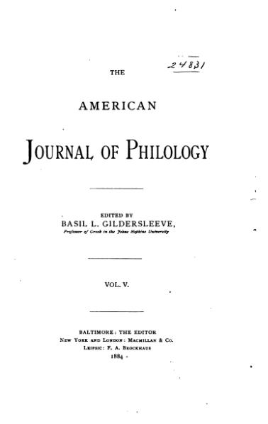 File:The American Journal of Philology Volume 5.djvu