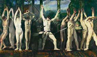 Human shield - The Barricade by the American artist George Bellows inspired by an incident in August 1914 where German soldiers used Belgian civilians as human shields.
