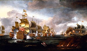 Battle of Lowestoft - Portrait of the Battle of Lowestoft by Adriaen Van Diest, circa 1670s