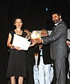 The Chief Guest and renowned film actor Shri Mamooty presenting the Best Director's award to Ms. Ounie Lecomte for her film 'A Brand New Life', at the closing ceremony of the 40th IFFI-2009, at Panaji, Goa.jpg