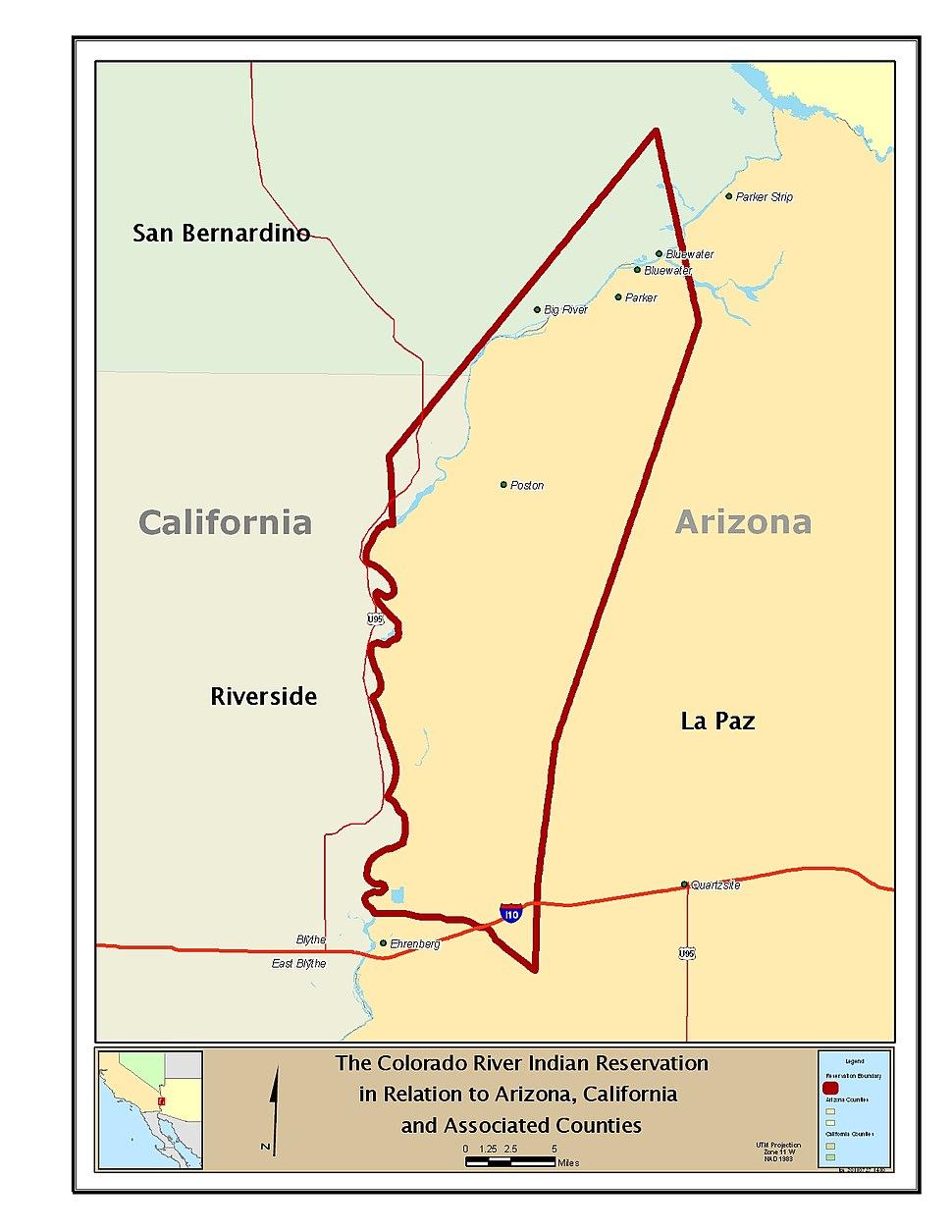 The Colorado River Indian Reservation in Relation to Arizona, California and Associated Counties