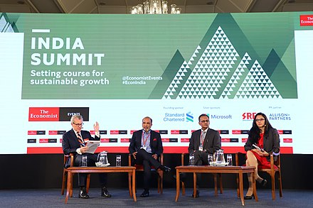 A panel of journalists and public policy leaders at The Economist's 2019 India Summit. The Economist 2019 1 o.jpg