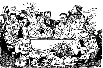 Krokodil - The Editorial Staff of Krokodil Discussing a Theme. The friendly jest by Pyotr Belyanin. 1929.