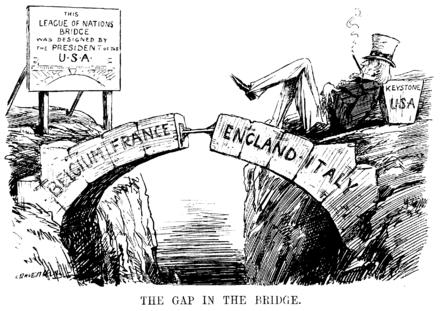 "The Gap in the Bridge; the sign reads ""This League of Nations Bridge was designed by the President of the U.S.A."" Cartoon from Punch magazine, 10 December 1920, satirising the gap left by the US not joining the League. The Gap in the Bridge.png"