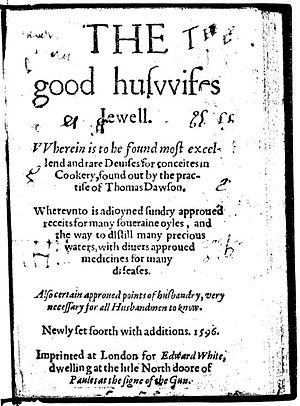Thomas Dawson (cook) - Title page of 1596 edition of Thomas Dawson's The Good Huswifes Jewell, first published 1585